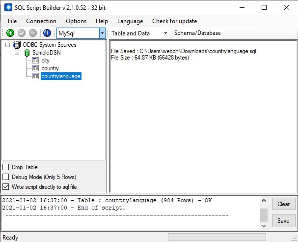 SQL Script Builder Screen shot